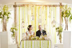 sweet heart table or backdrop for catering or cake table- use assorted ribbons in color scheme with random decorative hangings and collectibles