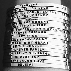What's your favorite mantra? MantraBands make the perfect gift for everyone on your list, including yourself. Choose from 99+ options. Fully adjustable and will fit most wrists. $25-$35