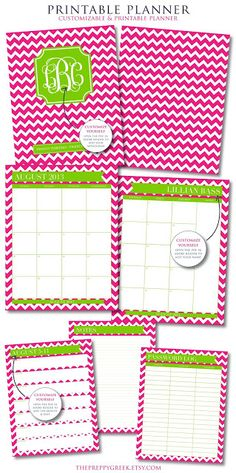 Chevron and Monogram Printable Planner from Jessica Marie Design