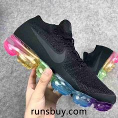 Nike Air VaporMax 2018 Flyknit Black Rainbow Sole by Smith Lisa Cute Nike Shoes, Adidas Shoes, Running Shoes Nike, New Nike Air, Nike Air Vapormax, Cheap Nike Air Max, Nike Basketball Shoes, Sports Shoes, Air Max Sneakers