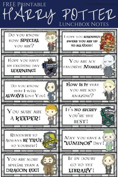 Check it out Potter Heads! Harry Potter Printable Lunchbox Jokes and Notes for Kids École Harry Potter, Classe Harry Potter, Harry Potter Birthday, Harry Potter Activities, Harry Potter Printables, Harry Potter Classroom, Harry Potter Illustrations, Lunch Box Notes, Jokes For Kids