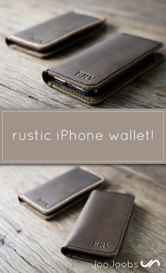 PERSONALIZED leather iPhone 7 case.   We have branding awesome INITIALS into leather down to an exact science.   JooJoobs makes rustic looking wallets. Think wild wild west, John Wayne, etc....