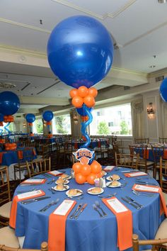 Knicks Balloon Centerpiece Knicks Themed Balloon Centerpiece with Custom Logo Cutout Basketball Party, Basketball Baby Shower, Banquet Centerpieces, Balloon Centerpieces, Balloon Decorations, Sports Centerpieces, Bar Mitzvah Centerpieces, Balloon Display, Nerf Birthday Party