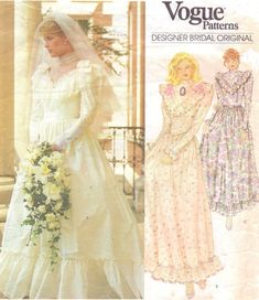 80s Vogue Designer Bridal Original Sewing Pattern by CloesCloset