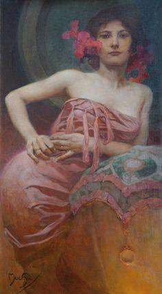 Alphonse Mucha (Czech, 1860-1939). Portrait of a Lady, undated.