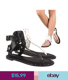Sandals Thong Open Toe T-Strap Stud Trim Cuff Ankle Women Flat Gladiator Sandal Shoe Flat Gladiator Sandals, Shoes Sandals, Leather Material, T Strap, Womens Flats, Vegan Leather, Open Toe, Ankle, Ebay