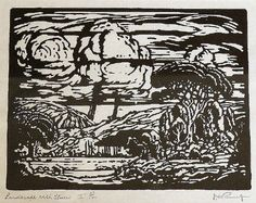 JH Pierneef, Linocut, 270 x Landscape with house South African Artists, Artist Painting, Cape, Passion, Colours, Watercolor, Wallpaper, Gallery, Drawings