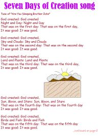 "Seven Days of Creation song ""Here is a song that I found in a collection of children's bible song's put together by teachers. Preschool Bible Lessons, Preschool Songs, Bible Lessons For Kids, Bible Activities, Bible For Kids, Toddler Bible, Church Activities, Kids Bible Songs, Childrens Bible Songs"