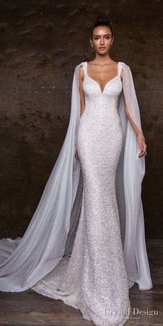 "Crystal Design 2018 Wedding Dresses — ""Royal Garden"" & Haute Couture Bridal Collections crystal design 2018 sleeveless with strap full embellishment glitter glamorous fit and flare wedding dress sweep train (syuzet) mv -- Crystal Design Fit And Flare Wedding Dress, Dream Wedding Dresses, Designer Wedding Dresses, Wedding Gowns, Glitter Wedding Dresses, Wedding Bridesmaids, Wedding Dress Cape, Wedding Ceremony, Weding Dresses"