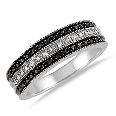 #blackdiamondgem 925 Sterling Silver Black & White Accent Diamond 3-Row Band Ring Size 5, 6 and 7	by Gem Stone King - See more at: http://blackdiamondgemstone.com/jewelry/rings/bands/925-sterling-silver-black-white-accent-diamond-3row-band-ring-size-5-6-and-7-com/#sthash.HVyuL2Pl.dpuf