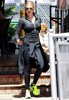 Dedicated: Khloe Kardashian showed off her toned figure in black workout wear as she visit...