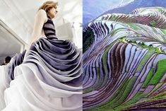 Details backstage at Christian Dior Haute Couture, Spring 2012 / Terraced rice fields in Yunnan, China