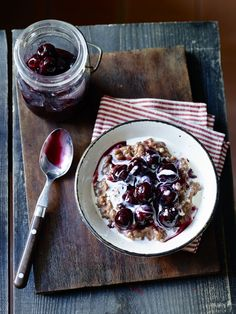 Chocolate Risotto with Boozy Cherries
