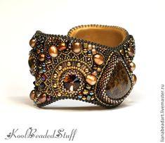 Купить Браслет с бронзитом - коричневый, вышитый браслет, Сваровски, бронзовый…