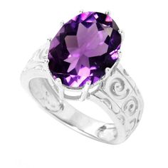 Sterling Silver 5.46cttw Oval Amethyst Solitaire Swirl Engravework Ring (Size-7), Women's, Size: 7, White