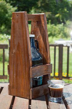Beer Growler Carrier Beer Caddy Pallet Wood Growler Holder