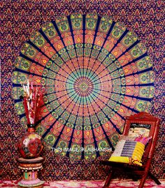 Blue Hippie Hippy Wall Hanging  Indian Mandala by Labhanshi, $21.99