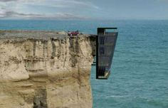 You'd have to be pretty brave to live in a box dangling off the edge of a cliff…