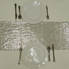 """12""""x108"""" Silver Premium Sequin Table Runners Party Catering, Wedding Catering, Catering Ideas, Silver Wedding Decorations, Table Decorations, Wedding Table, Diy Wedding, Wedding Signs, Rustic Wedding"""