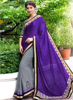Violet & Grey Colour Crepe Jacquard Traditional Designer Occation Wear Saree With Matching Blouse Piece - - Color Shades, Gray Color, Saree Border, Half Saree, Indian Ethnic Wear, Saree Collection, Indian Sarees, Latest Fashion Trends, Purple