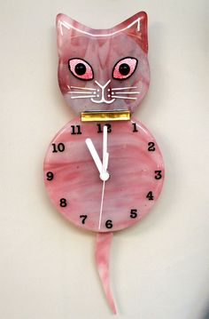 Pink Fused Glass Cat Clock