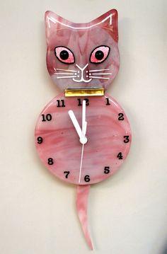 Pink Fused Glass Cat Clock