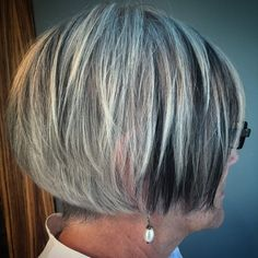 "32 Likes, 2 Comments - Megan Last (@bestlast) on Instagram: ""Barbara likes to keep it funky fresh #colorpanels #cleartheshoulders #bob #naturalgrey #shorthair…"""
