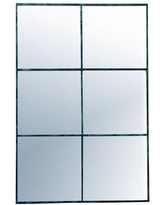 Elegant large rectangular window pane mirror with a minimal metal frame in a distressed black finish - a statement mirror for hallways, living rooms, bedrooms. Window Pane Mirror, Black Window Frames, Hallway Mirror, Copper Mirror, Metal Mirror, Gold Wall Lights, Industrial Mirrors, Industrial Style, Window Styles