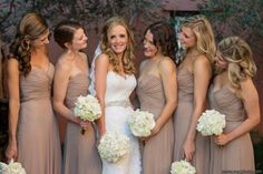 Neutral bridesmaids dresses  Rosemary Beach Wedding   It's a Shore Thing Wedding Planning   Nouveau Flowers