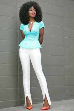 Lace Peplum Blouse + White Front Slit Pants