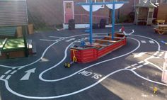 Hopscotch, skipping rings, play roads.
