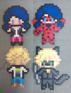 Marinette and Adrien in both their casual and superhero costumes from Miraculous Ladybug! The akuma hunters are for sale as magnets or pinbacks on my art blog. The pixel art these are based on is all designed and put together by me!If you are interested in many more characters like this, check out my pixel and perler commission info here:http://juneinautumn.tumblr.com/post/135696147057/pixel-and-perler-commissions-hi-all-as-a-grad