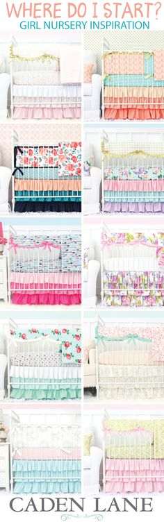 Start with the crib bedding! Find your inspiration in the fabrics and styles of your favorite girl baby bedding set and you'll be able to match paint colors and accessories that make the room perfect!