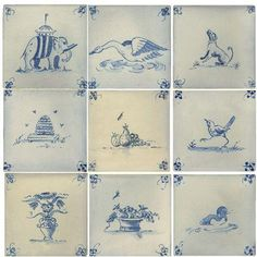 I love the freshness of delft tiles and these would be beautiful at the rear of our fireplace. I would love to put a small woodburning stove in, but the thought of hauling wood upstairs is too daunting. Delft Tiles, Blue Tiles, Porcelain Tiles, White Tiles, White Tile Backsplash, White Fireplace, Vintage Tile, Tile Murals, Blue And White China