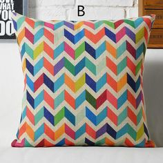 Pop art colorful geometric pillow for home decoration linen sofa Cushions