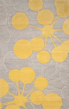 Contemporary rug by Jef Designs. Gray-lemon-ivory.