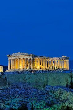 The Acropolis in Athens Greece Lit Up At Night