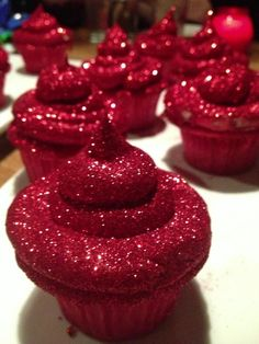 BestPinterest: Cannot wait to make these!!Red Glitterbomb Cupcakes These remind me of the wizard of OZ but would be fun to serve anytime!!!