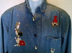 Ladies Paradise Cove Denim I Love Bowling Over Shirt Funny Pins and Ball Button  #Unbranded #ButtonDownShirt #Bowling