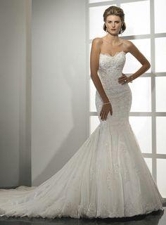 Mermaid Sweep Train Sweetheart Dropped Waist Long Satin Ivory Wedding Dresses WD1668