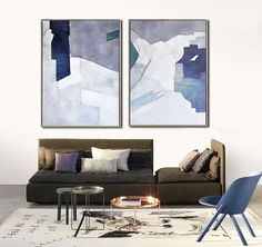 Set Of 2 Large Contemporary Painting, Abstract Canvas Art, Original Artwork by Biao. Blue, orange, pink, green, etc. - Celine Ziang Art