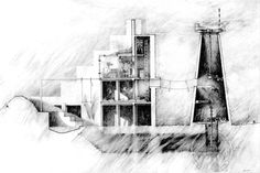 Peter Wilson Bolles+Wilson  Bird House 1975, section. Left: Oneric house; right: ruined windmill.