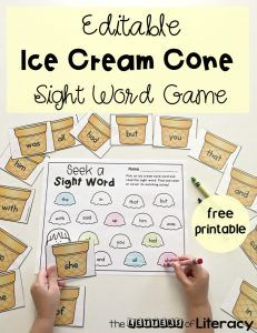 Practice sight words in literacy centers with this EDITABLE Ice Cream Cone Sight Word Game! Type in any 15 words and it auto-populates! Perfect for Kindergarten and grade literacy centers. Preschool Sight Words, Teaching Sight Words, Dolch Sight Words, Sight Word Practice, Sight Word Games, Sight Word Activities, Pre K Sight Words, Preschool Learning, Literacy Activities