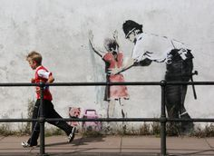 Banksy Police stop and search girl, Glastonbury