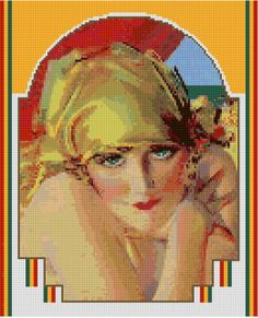Cross stitch pattern 1920s Art Deco Flapper PDF - New EASY chart with one color per sheet And regular chart! Two charts in one! by HeritageCharts on Etsy