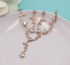 Wedding Jewelry Set Rose Gold Vine Teardrop Jewelry Set CZ