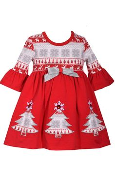 266cfc1b4bd0 Bonnie Jean Baby Red Fair Isle Christmas Tree Cotton Holiday Dress 36 Months  ** Desire