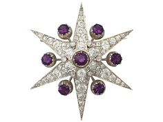 4.62 ct Amethyst and 5.14 ct Diamond, 9 ct Yellow Gold 'Star' Brooch - Antique Victorian  SKU: A5070 Price: GBP £4,950.00  http://www.acsilver.co.uk/shop/pc/4-62-ct-Amethyst-and-5-14-ct-Diamond-9-ct-Yellow-Gold-Star-Brooch-Antique-Victorian-35p8642.htm