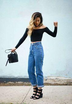 Mom jeans: Cómo combinar los vaqueros mom de tendencia - Mom jeans y color negro