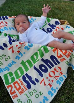 Super-soft baby blankets with all the birth details. Brilliant!